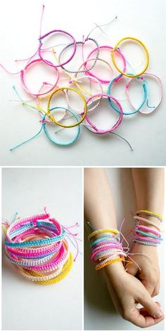 DIY 2 Easy Friendship Bracelet Tutorials Just Out from The Purl Bee.There is the one sided wrap and the double sided wrap, both with an adjustable closure. For one of the best DIY Friendship Bracelet Archives go here:truebluemeandyou.tumblr.com/tagged/friendship Below is a Roundup of 18 Friendship Bracelet Tutorials I posted including a site with hundreds of patterns for bracelets (#9 Bottom Photo).