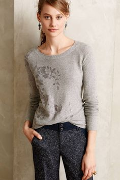 Anthropologie Foil-Printed Pullover Sz L, Gray Top Sweater w/Silver Floral Print #KnittedKnotted #KnitTop #Career