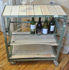 Barn Loft-repuposed metal cart w/planed barn wood