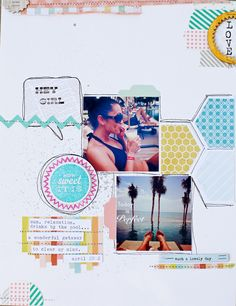 LO about self, hand drawn borders, hexagons, stamping:  she makes stuff...