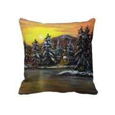 James Winter Cabin, a painting by Ave Hurley of ArtRave is now available as a printed 20x20 pillow  on Zazzle~! Check it out~!