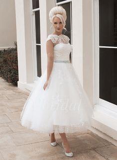 Vestidos de noiva - $160.31 - Vestidos princesa/ Formato A Decote redondo Comprimento médio Tule Renda Vestido de noiva com Cintos Curvado (0025058918)