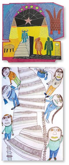 Stairs in artworks by two outsider artists: on top John McKie and at the bottom Michaela Mondelo. Both artists are presented along with 104 other artists on www.outsider-art-brut.ch and www.aussenseiterkunst.ch.