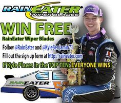 WIN FREE RAINEATER WIPER BLADES.  #kylebenjamin #Nascar #Racing #Free #Contest #Sweepstakes #Raineater #Wiperblades #Cars #Trucks #driving #RushLM   Official Rules and Information at http://raineater.com/fridayfrenzy.html