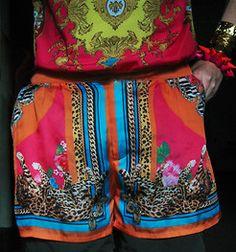 indian styled digital printed shorts http://lookbook.nu/look/3913934-Scarf-Print-Shorts-Sleeveless-Tee-Neon-Patent