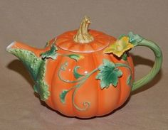Painted Pumpkin Teapot