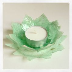 Recycled CD Tea Light Holder (Lily) by FancyTatCrafts on Etsy