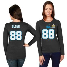 Greg Olsen Carolina Panthers Majestic Women's Super Bowl 50 Bound Fair Catch Name & Number Long Sleeve T-Shirt - Black - $25.64