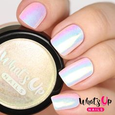 Aurora Pigment from WhatsUpNails.com @whatsupnails Create your own white chrome nails with opal effect or apply over any color base to make your magical unicorn manicure!