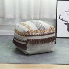 Moroccan Furniture, Bean Bag Sofa, Outdoor Pouf, Square Pouf, Cotton Linen, Woven Cotton, Linen Fabric, Ottoman Footstool, Leather Pouf