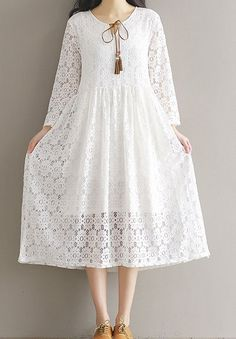 Women loose fitting over plus size ethic lace flower dress long fashion chic #Unbranded #dress #Casual