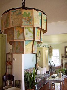 Recycled map chandelier by LolliePatchouli