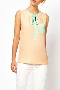 Color Block Neckline Bow Chiffon Vest