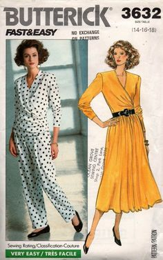 01397d119044 Butterick 3632 Womens EASY Stretch Wrap Top Skirt   Pants 80s Vintage  Sewing Pattern Size 14 16 18