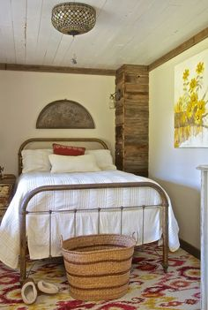 Vintage bedroom in rustic montana farmhouse