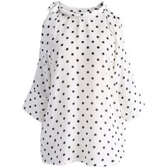 Chicwish Blissful Polka Dots Cold-shoulder Top in White (920 UAH) via Polyvore featuring tops, white, open shoulder tops, dot top, white tops, white open shoulder top и white cold shoulder top
