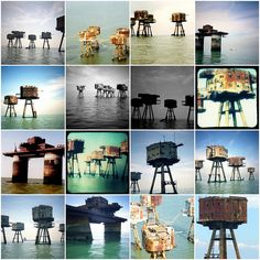 Old sea forts left over from defending great britain during world war two.  some crazyish guy claimed the third one down on the left most column as the independent micronation of Sealand.
