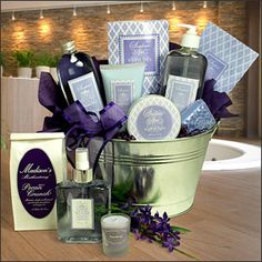 Spa Retreat   Send her on a luxurious spa retreat to melt away stress, refresh and renew. Our exclusive design features floral scented body lotion, shower gel, bath tea, body butter, body mist, soaps, and a scented sachet.