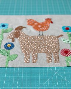 Sneak peeks from quilt market sewing still happening here on my IG feed:) Goat.Rooster and Bunny for the Farm Sweet Farm Quilt and Sew… Cute Quilts, Scrappy Quilts, Mini Quilts, Baby Quilts, Farm Animal Quilt, Farm Quilt, Chicken Quilt, Chicken Pattern, Fat Quarter Quilt