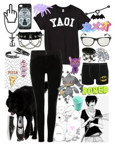 """✪ I like butts (can you not) ✪"" by haydentheteenagedirtbag ❤ liked on Polyvore featuring J Brand, Vans and Retrò"