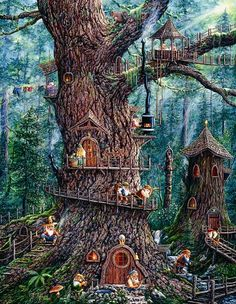 ♧ Charming Fairy Cottages ♧ garden faerie gnome & elf houses & miniature furniture -   A treehouse for forest Elves, Faerys & Gnomes.