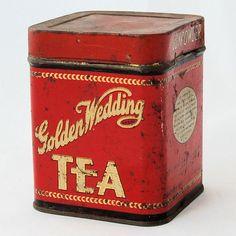 Vintage Advertising Tin Golden Wedding Green Tea Gun Powder from Antik Avenue on Ruby Lane Tea Tins, Vintage Tins, Vintage Advertisements, Coffee Cans, Art Decor, Gun, Powder, Old Things, Ruby Lane