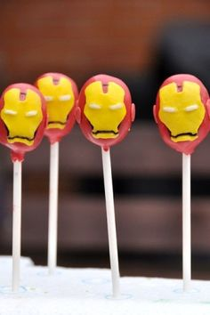 Iron Man Cake Pops sept bday for a certain young man :) Iron Man Birthday, Boy Birthday, Birthday Ideas, Avengers Birthday, Birthday Cake, Cake Pops, Iron Man Party, Ironman Cake, Red Chocolate