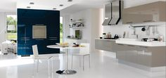 Kitchen:Fascinating Blue Gray And White Open Kitchen Design Decorating Ideas With Gray Kitchen Cabinets Plus Stainless Steel Exhaust And Appliance Kitchen Sets And Round Dining Table Plus Dining Chairs And White Walls Also Marble Floor Some Ideas of Modern Open Kitchen Design with Few Color To Inspire You