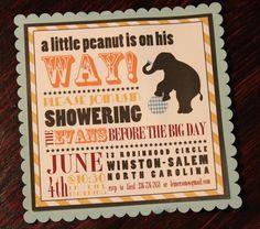 Baby Shower Invitation - Little Peanut Circus. $20.00, via Etsy.