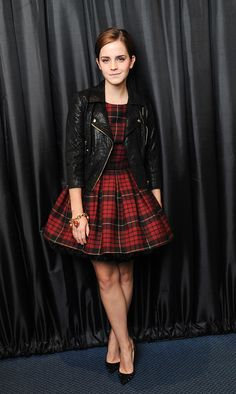love the plaid and leather! Of course Emma Watson is easy on the eyes too! Leather Jacket Tartan Dress Emma Watson looking fab. Photo Emma Watson, Emma Watson Style, Plaid And Leather, Leather Jacket, Moto Jacket, Red Plaid, Black Leather, Moda Rock, Style Me