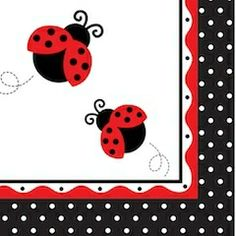 Ladybug Fancy Paper Napkins - Baby Shower Theme Party Supplies Online in India