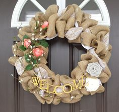 Burlap and Lace Wreath with Pink Roses by ChicontheChesapeake