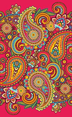 Paisley Stretched Canvas 16075 by Wall Art Prints Paisley Art, Paisley Design, Paisley Pattern, Pattern Art, Paisley Doodle, Design Floral, Pattern Wallpaper, Wallpaper Backgrounds, Wall Art Prints