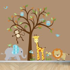 Jungle Animal wall decal, giraffe decal, monkey decal, owl wall decal, elephant wall sticker, jungel decal wall sticker. $120.00, via Etsy.
