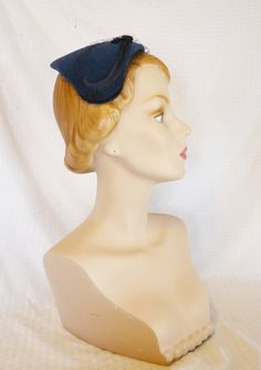 1950s Vintage Blue Velour Half Hat with by MyVintageHatShop