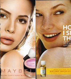 """This ad uses minimal Photoshop treatment. The first giveaway is her teeth. They're natural looking, not like those freakish, blinding white teeth you see in most ads. Next, look at all the freckles, moles and other """"imperfections"""" you can see on her face and shoulder. That's not stuff you typically see in skin care ads. As acomparison, take a look at it next to a typical ad. It's not until you consider how real skin actually looks that you realize how over-Photoshopped most images in media…"""