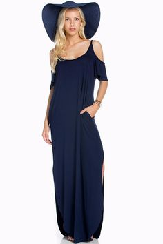 Cold Shoulder Maxi Dress Made in USA