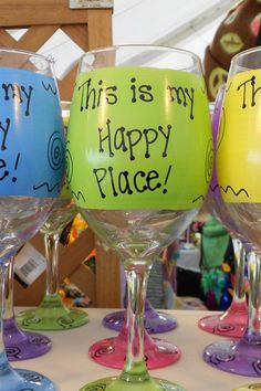 This is my Happy Place Funny Wine Glass Gift by FunnyWineGlasses Funny Wine Glasses, My Happy Place, Christmas Presents, Cups, Arts And Crafts, Inspired, Handmade Gifts, Etsy, Xmas Gifts
