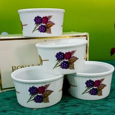 Royal Worcester Ramekins Small Set 4 Evesham England Porcelain Berries Olives