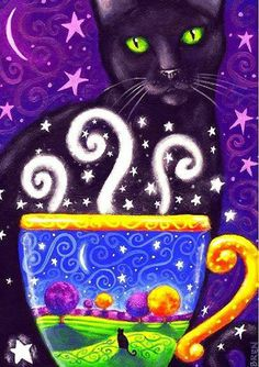 Coffee Magic - print - by Brenna White - Fall Autumn coffee black cat stars moon. Crazy Cat Lady, Crazy Cats, Gato Angel, Chesire Cat, Black Cat Art, Black Cats, Gatos Cats, Autumn Coffee, Cat Drawing