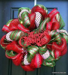 Deco Mesh Christmas Wreath - Merry Christmas Wreath - via Etsy.