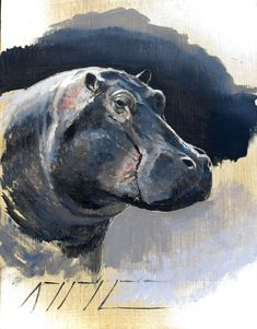 Hippo - Oil on Panel - Amy Sandys-Lumsdaine, Wildlife & Travel Artist based in Nairobi, Kenya. British Wildlife, Wildlife Art, Still Life Artists, Hippopotamus, Nairobi, Kenya, Amy, Diy Projects, The Incredibles