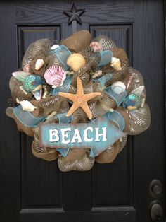 SEASHELLS BEACH Mesh wreath by GlitzyWreaths on Etsy, $80.00