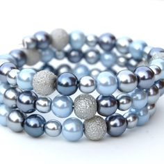 gray and blue bracelet