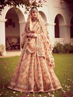 Sabyasachi just launched his 2020 new bridal collection. Sabyasachi Sultana Wedding Lehengas come in gorgeous new shades and you've got to see the dupatta! Indian Bridal Outfits, Indian Bridal Lehenga, Indian Bridal Fashion, Indian Bridal Wear, Pakistani Bridal Dresses, Indian Designer Outfits, Sabyasachi Lehenga Bridal, Indian Designers, Dress Indian Style