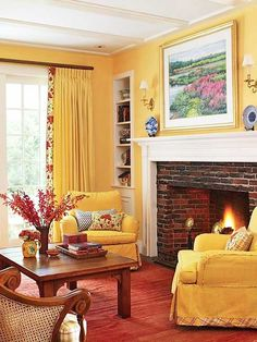 Cozy yellow living room with fireplace