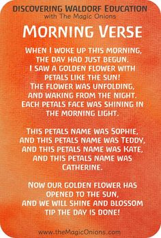 Favorite Waldorf Morning Circle Verses for Kindergarten : When I woke up this morning, the day had just begun.