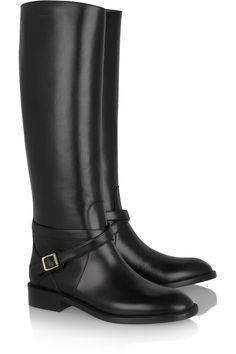 Saint Laurent|Cavaliere buckled leather riding boots|NET-A-PORTER.COM