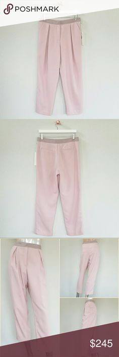 """KAELEN NYC pink crepe pants w/ front pleats Crepe Grosgrain Waist Pant with back besom pockets and front pockets. Zipper and button closure. 100% Polyester. Color: dusty pink. Made in NYC.  Size: 6 Measurement (approximately): Waist: 16"""" (32"""") Hips: 22.5"""" (45"""") Rise: 11.5"""" Leg opening: 7.5"""" (15"""") Inseam: 27"""" Total length: 38""""  NWT. Never worn. Can provide more pictures and info upon request. Reasonable offer only please :) Kaelen Pants"""