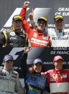 Seven years later...Alonso, Raikkonen, Shumi